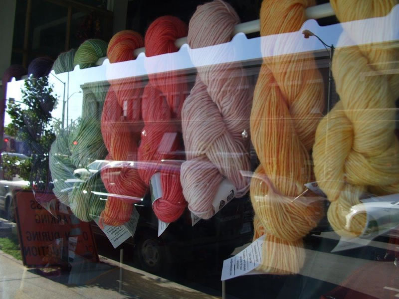 Red Barn Yarn display in LYS
